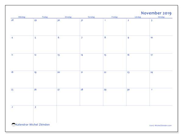 Kalender november 2019, 73MS. Gratis utskrivbara kalender.