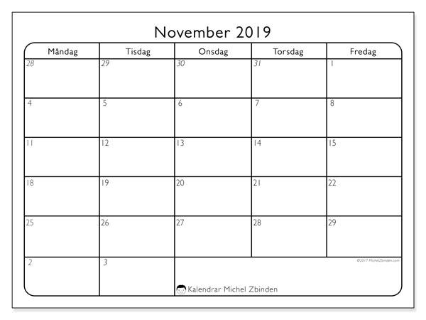 Kalender november 2019, 74SL. Kalender för att skriva ut gratis.