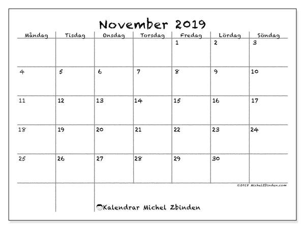 Kalender november 2019, 77MS. Schema för att skriva ut gratis.