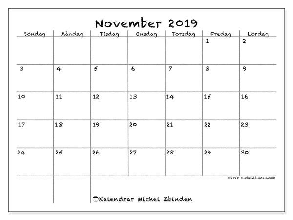 Kalender november 2019, 77SL. Kalender för gratis utskrift.