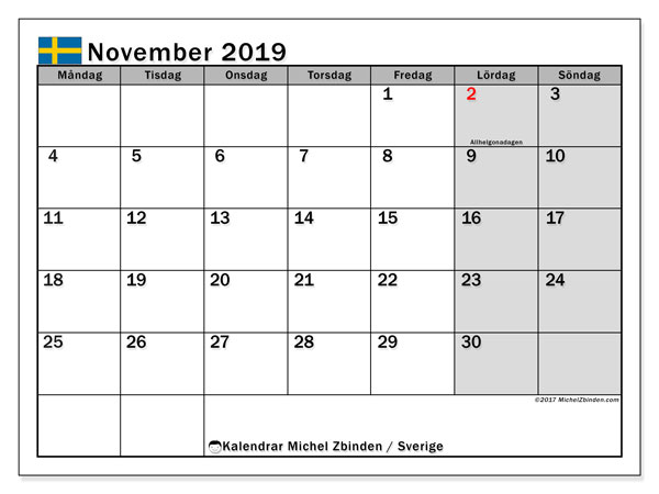 Kalender november 2019, med helgdagar i sverige. Schema för att skriva ut gratis.