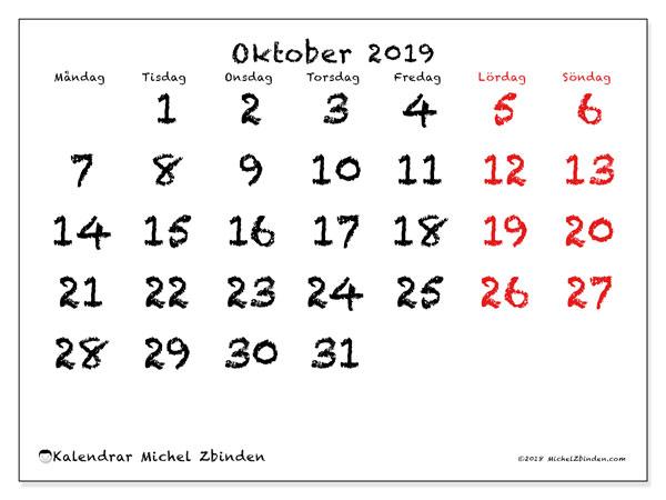 Kalender oktober 2019, 46MS. Gratis kalender att skriva ut.