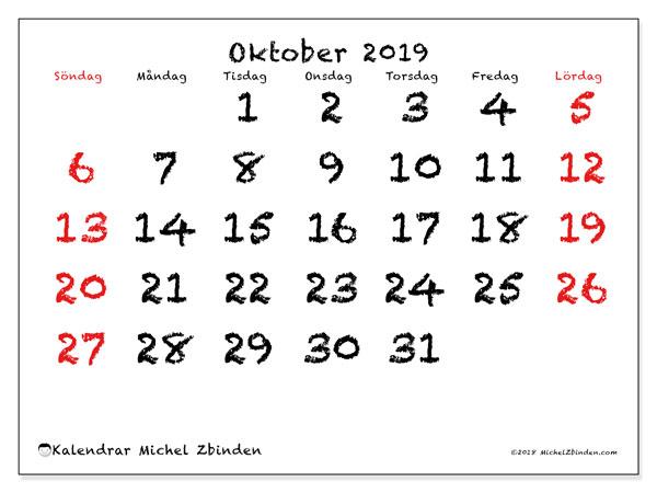 Kalender oktober 2019, 46SL. Schema för att skriva ut gratis.