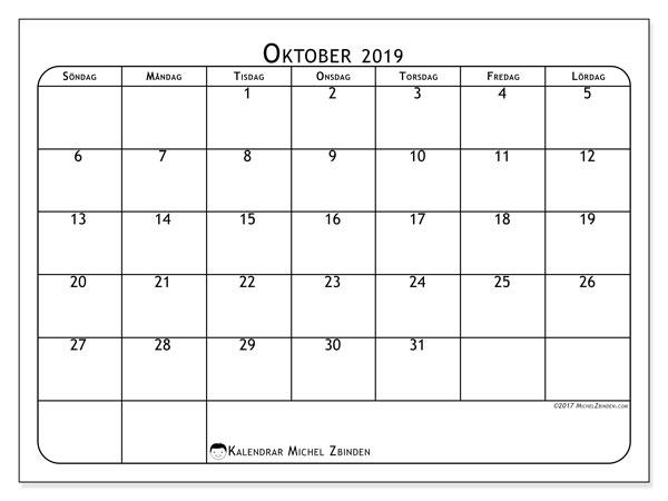 Kalender oktober 2019, 51SL. Månadskalender för att skriva ut gratis.