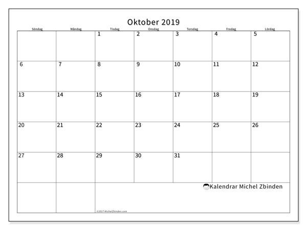 Kalender oktober 2019, 53SL. Kalender för året att skriva ut gratis.