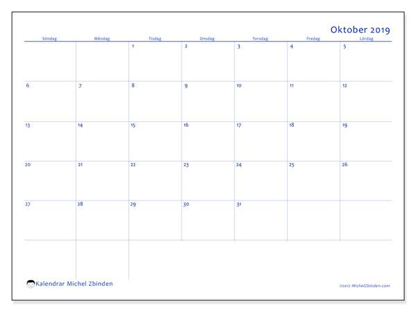 Kalender oktober 2019, 55SL. Schema för att skriva ut gratis.