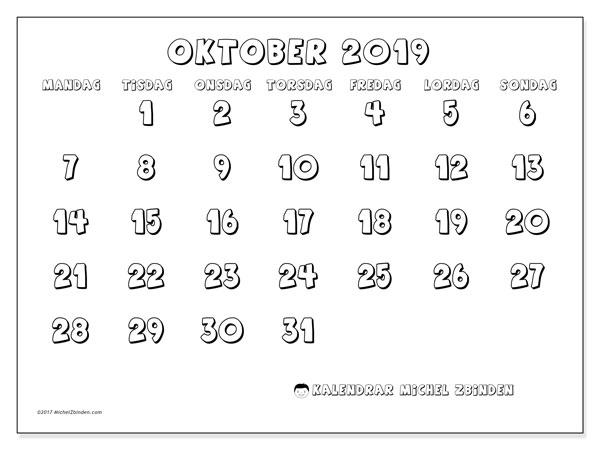 Kalender oktober 2019, 56MS. Kalender för gratis utskrift.