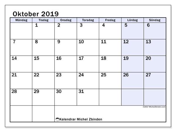 Kalender oktober 2019, 57MS. Gratis kalender att skriva ut.