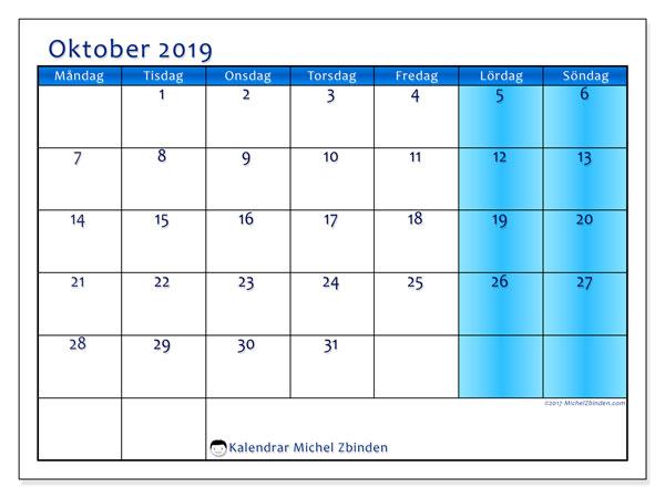 Kalender oktober 2019, 58MS. Kalender för gratis utskrift.