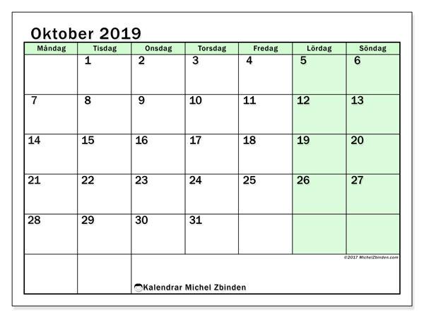 Kalender oktober 2019, 60MS. Gratis utskrivbara kalender.