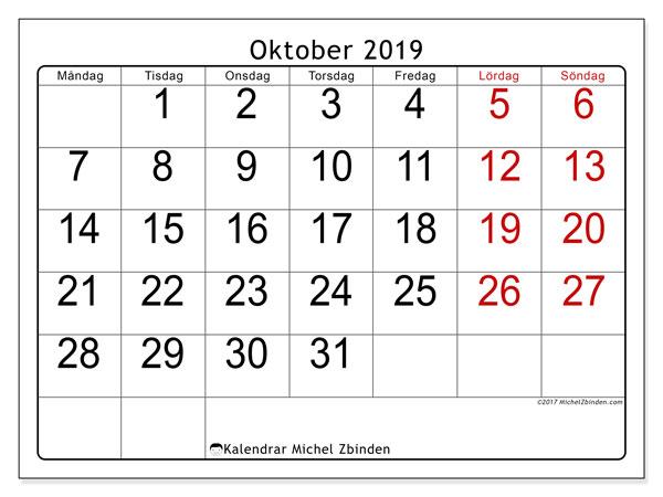 Kalender oktober 2019, 62MS. Månadskalender för att skriva ut gratis.