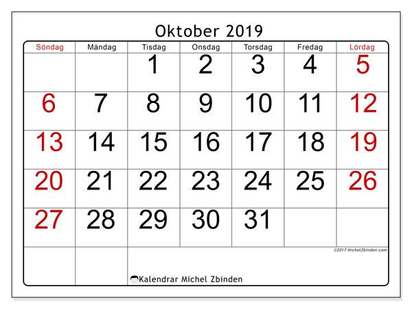 Kalender oktober 2019, 62SL. Gratis kalender att skriva ut.