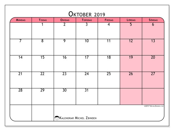 Kalender oktober 2019, 64MS. Månadskalender för att skriva ut gratis.