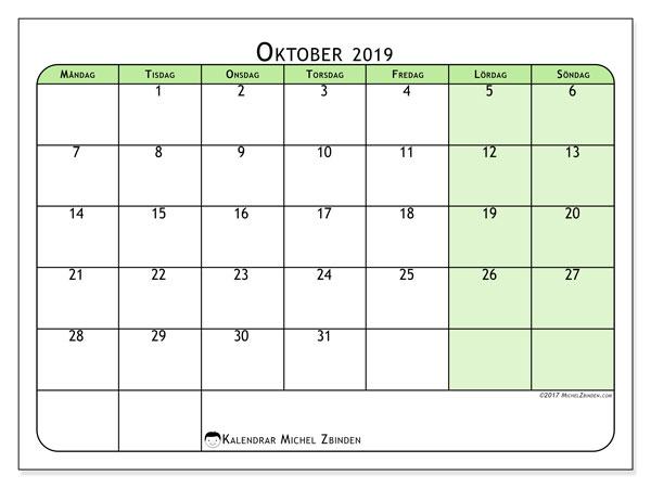 Kalender oktober 2019, 65MS. Kalender för att skriva ut gratis.