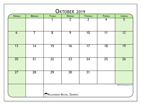 Kalender oktober 2019, 65SL. Gratis utskrivbara kalender.