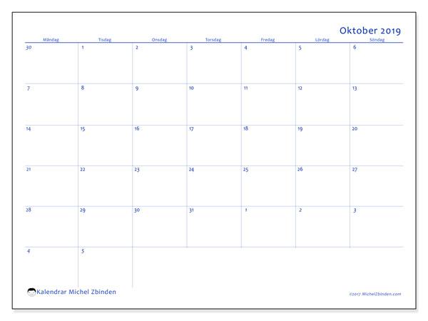 Kalender oktober 2019, 73MS. Almanak för att skriva ut gratis.