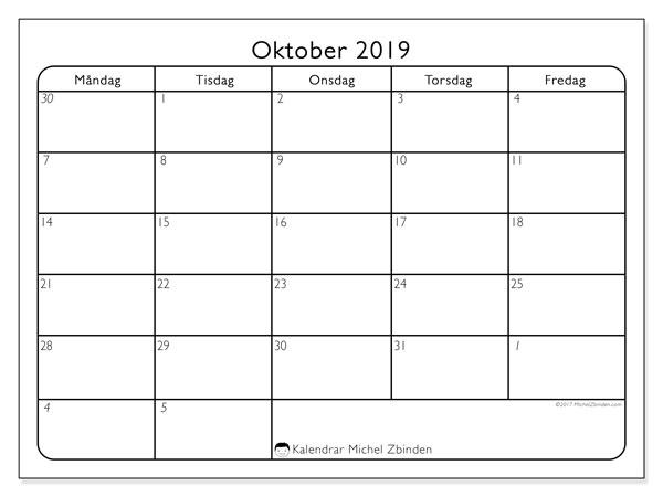 Kalender oktober 2019, 74MS. Kalender för gratis utskrift.