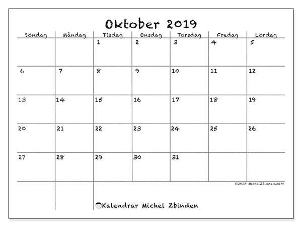 Kalender oktober 2019, 77SL. Gratis kalender att skriva ut.