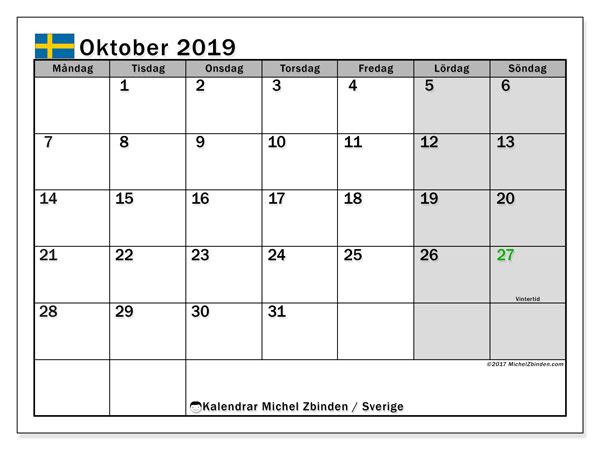 Kalender oktober 2019, med semester i Sverige. Kalender Semester att skriva ut gratis.