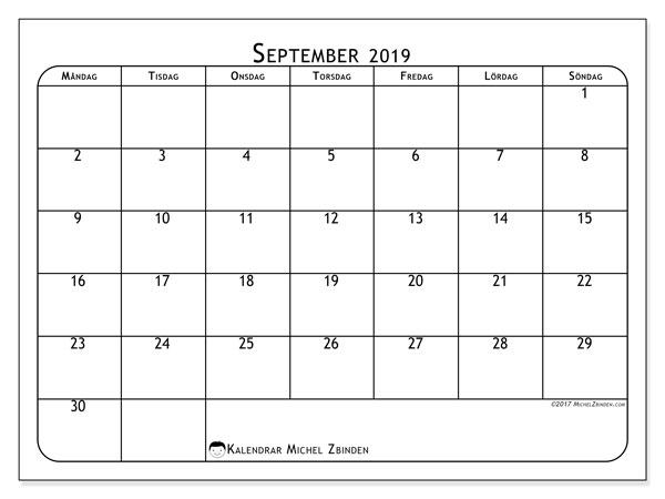 Kalender september 2019, 51MS. Kalender för gratis utskrift.