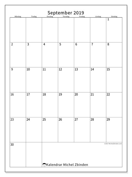 Kalender september 2019, 52MS. Schema för att skriva ut gratis.