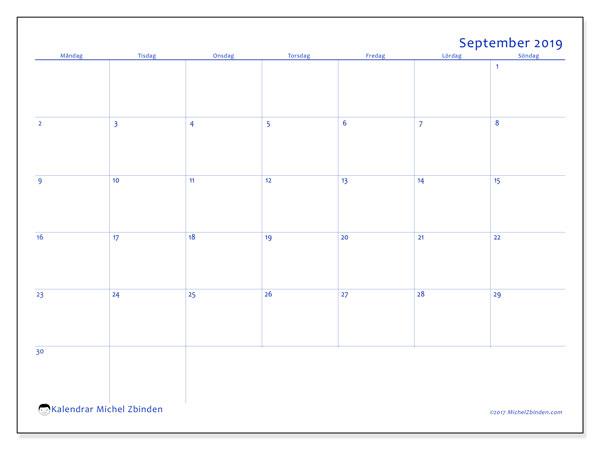 Kalender september 2019, 55MS. Gratis utskrivbara kalender.