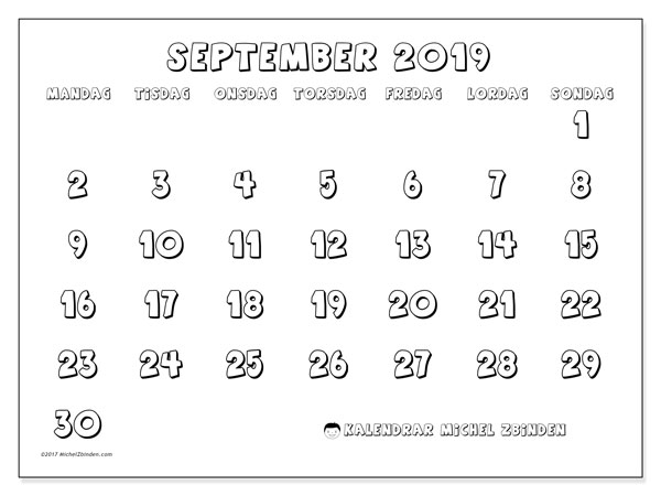 Kalender september 2019, 56MS. Gratis utskrivbara kalender.