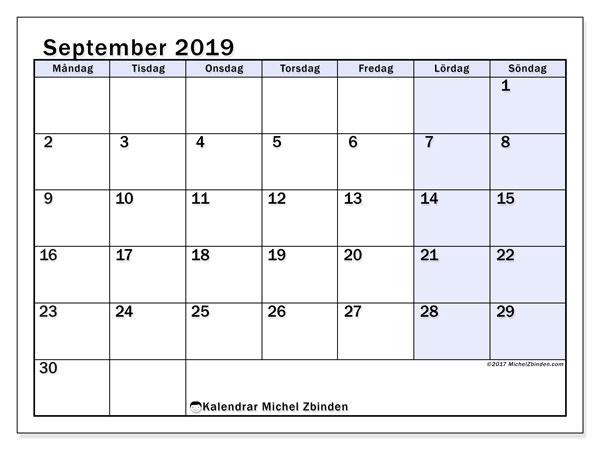 Kalender september 2019, 57MS. Kalender för gratis utskrift.