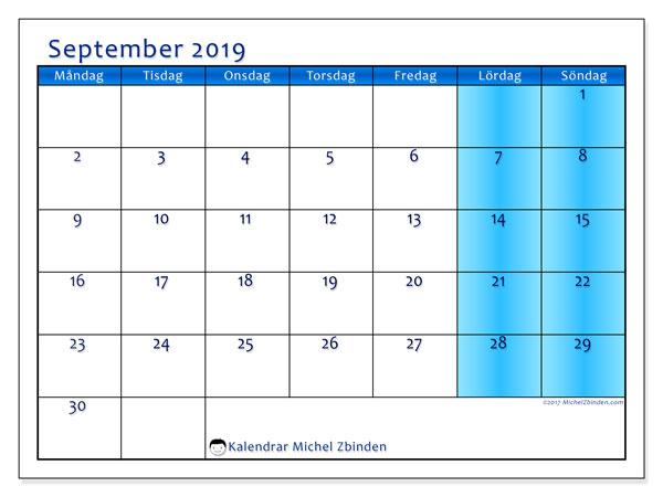 Kalender september 2019, 58MS. Gratis kalender att skriva ut.