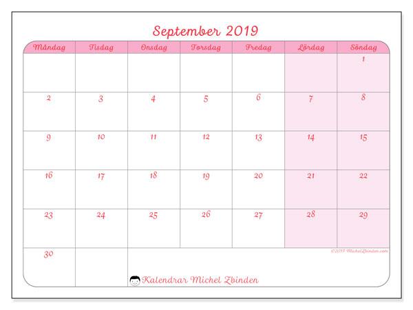Kalender september 2019, 63MS. Almanak för att skriva ut gratis.