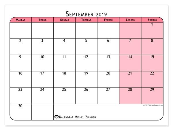 Kalender september 2019, 64MS. Almanak för att skriva ut gratis.