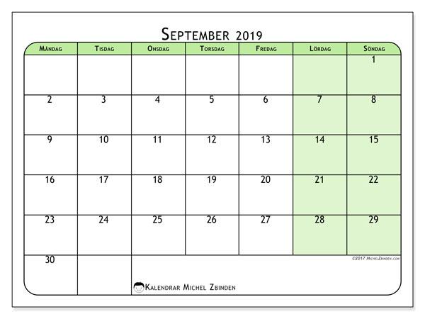 Kalender september 2019, 65MS. Gratis utskrivbara kalender.