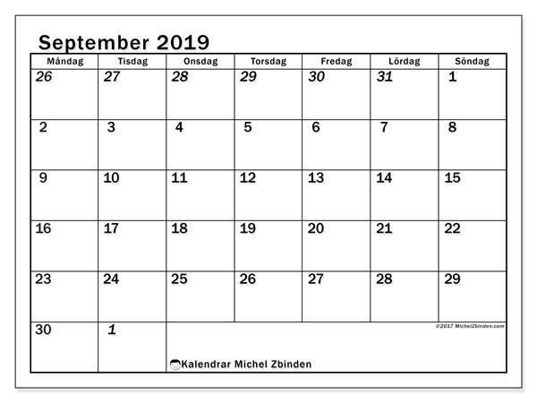 Kalender september 2019, 66MS. Månadskalender för att skriva ut gratis.