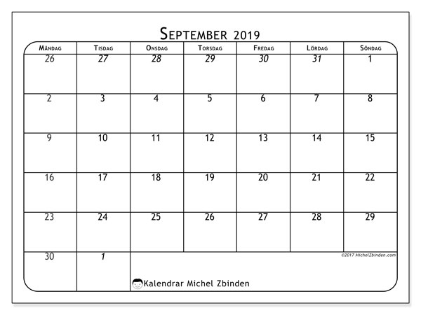 Kalender september 2019, 67MS. Gratis utskrivbara kalender.