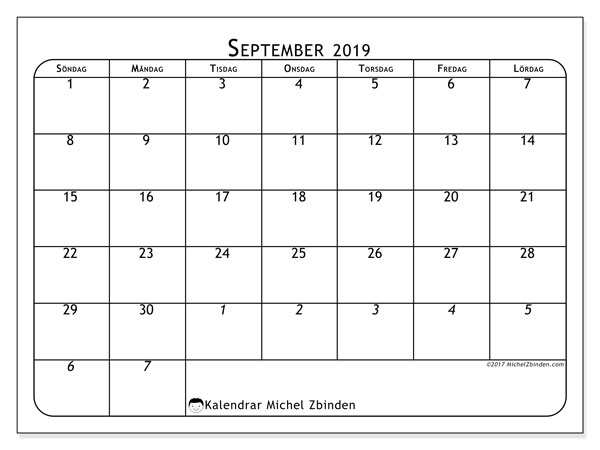 Kalendrar september 2019 (67SL).
