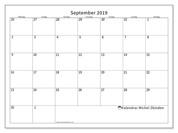 Kalender september 2019, 70MS. Almanak för att skriva ut gratis.