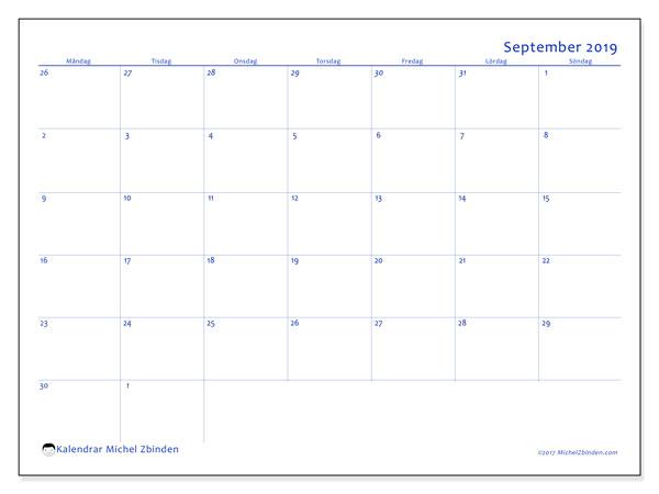 Kalender september 2019, 73MS. Schema för att skriva ut gratis.