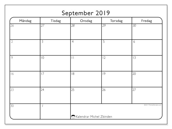 Kalender september 2019, 74MS. Kalender för gratis utskrift.