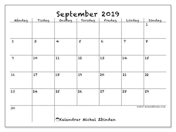 Kalender september 2019, 77MS. Kalender för gratis utskrift.