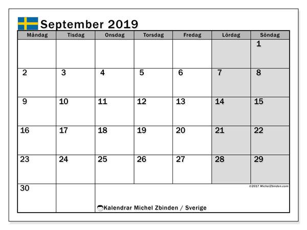 Kalender september 2019, med helgdagar i sverige. Schema för att skriva ut gratis.