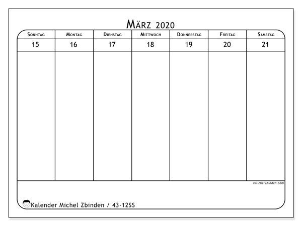 Kalender 2020, 43-12SS. Kostenloser Zeitplan zum ausdrucken.