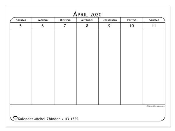 Kalender 2020, 43-15SS. Kalender für die Woche zum kostenlosen ausdrucken.