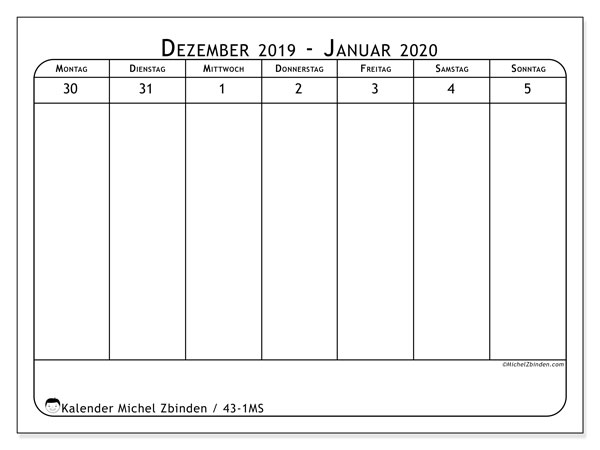 Kalender 2020, 43-1MS. Kalender zum kostenlosen ausdrucken.