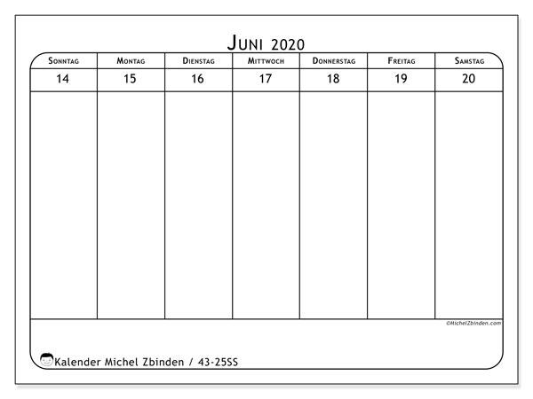 Kalender 2020, 43-25SS. Zeitplan zum kostenlosen ausdrucken.