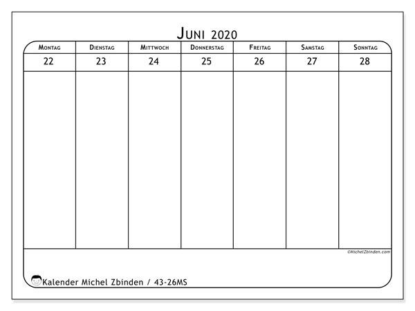 Kalender 2020, 43-26MS. Kalender für die Woche zum kostenlosen ausdrucken.