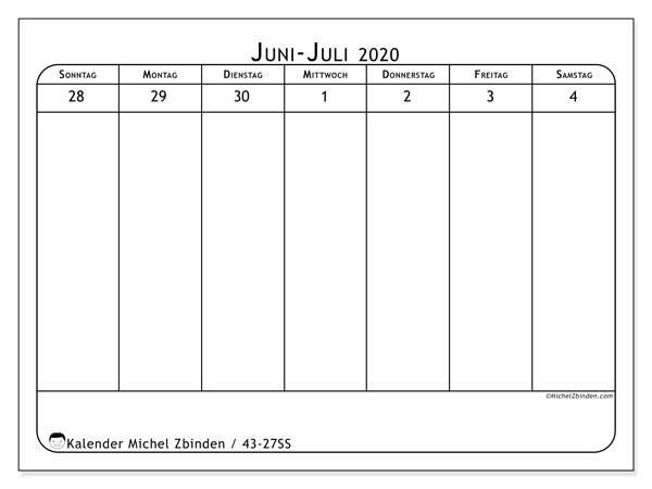 Kalender 2020, 43-27SS. Kostenloser Zeitplan zum ausdrucken.