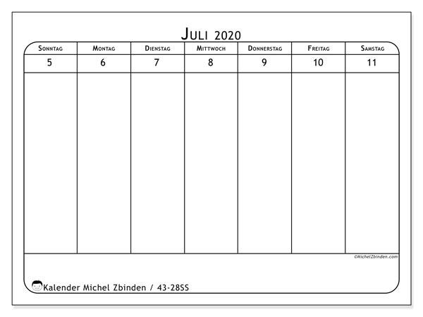 Kalender 2020, 43-28SS. Kalender zum kostenlosen ausdrucken.