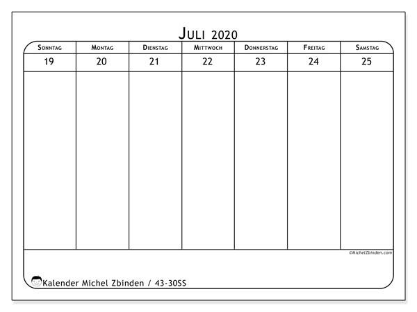 Kalender 2020, 43-30SS. Kalender zum kostenlosen ausdrucken.