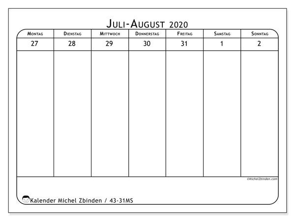 Kalender 2020, 43-31MS. Wöchentlicher Kalender zum kostenlosen ausdrucken.