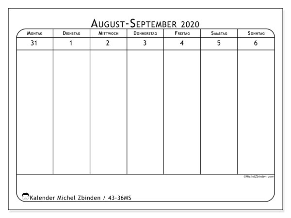 Kalender 2020, 43-36MS. Kalender für die Woche zum kostenlosen ausdrucken.